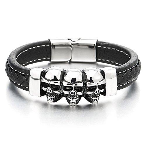 COOLSTEELANDBEYOND Gotik Biker Geflochtenes Schwarz Leder-Armband mit DREI Vintage Edelstahl Schädel Armband für Herren