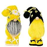 ZWPY Bumble Bee Gnomes Sueco Honey Bee Elf Plush Amarillo Y Negro Escandinavo Home Farmhouse Decoración De Cocina Estante De Abeja Sitter Bandeja De Exhibición En Niveles, Juego De 2