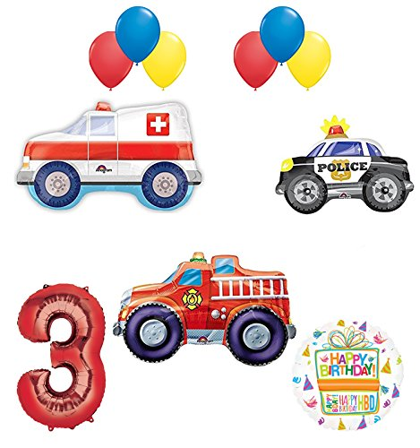 Team Rescue 3rd Birthday Party Supplies and First Responders Balloon Bouquet decorations