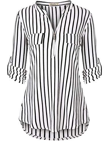 Women's 3/4 Cuffed Sleeve Zip Notch V Neck Casual Plaid Shirt Tunic Top Blouse Striped Medium