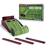 Putting Mat Golf Green Indoor and Outdoor Putt-A-Bout with Auto Ball Return,Crystal Velvet Mat and Solid Wood Base