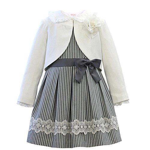 女の子 スーツ ワンピース 入学式 グレー ストライプ 子供服 女の子スーツ 5点セット 卒園式 発表会 結婚式 フォーマル [リトルリード] SAKURA smile 912325