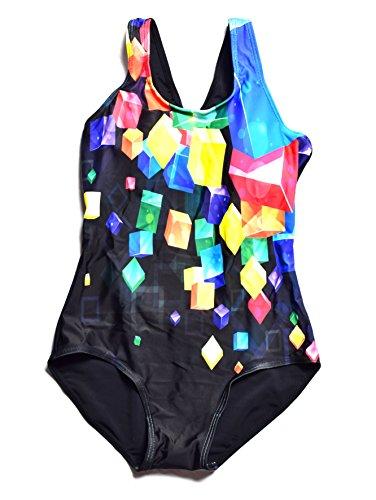 Bwiv traje de baño niña una pieza multicolor traje de natación resistente al cloro Negro con cubos de colores 156-160cm,14-15 años