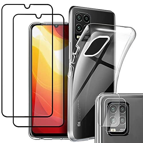 Pengkun 5 en 1 Funda para Xiaomi Mi 10 Lite 5G con 2 Cristal Templado 2 Cristal Templado para cámara Trasera Transparente Silicona TPU