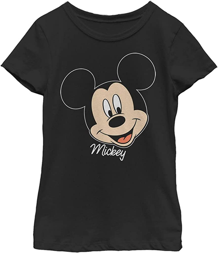 Disney Characters Mickey Big Face Girl's Solid Crew Tee