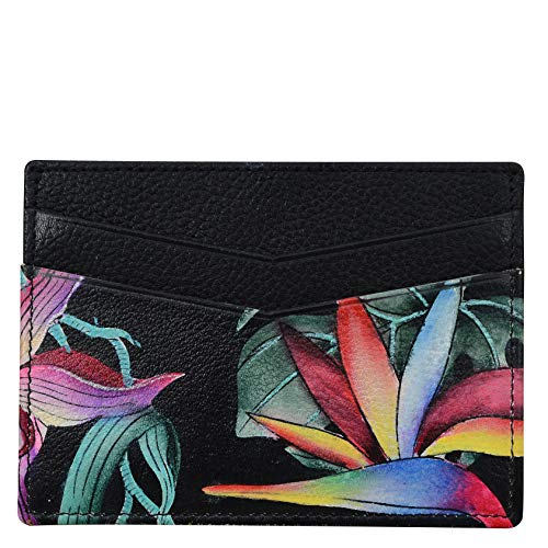 Anuschka Women's Genuine Leather Credit Card Case - Hand Painted Original Artwork - Island Escape Black