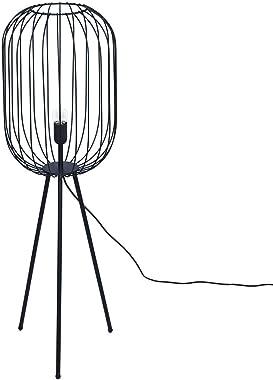 Lampe Abat-Jour en Cylindre Méta Noir, Style industriel, 3 pieds, H 135 cm