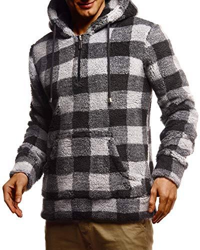 Leif Nelson Herren Hoodie Teddy Fleece Pullover mit Kapuze Kapuzenpullover für Männer Pulli Longsleeve Sweatshirt LN20110 Größe L Schwarz-Grau