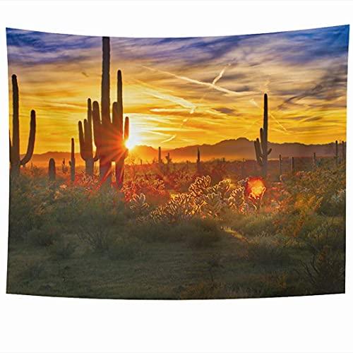 Tapices para colgar en la pared Cholla Saguaros Sunset Sonoran Desert Near in Phoenix Cactus Verde Nature Saguaro Parks Outdoor at Tapiz Manta de pared Decoración del hogar Sala de estar Dormitorio Do