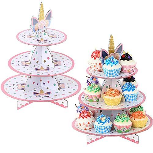 Alzata per Torta Cartone, 2PCS Unicorno Alzata per Cupcake Cartone, Supporto per Cupcake Carta 3 Tier, Alzata per Dolci Cartone Festa, Cupcake Stand Cartone per Baby Shower, Compleanni, Feste