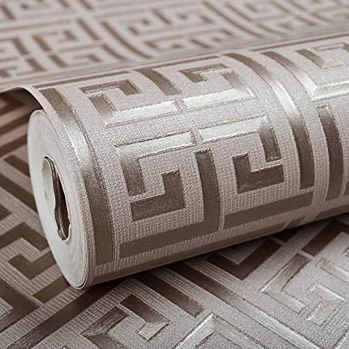 Gold Griechisch Schlüsselmuster Weiß Tapete Moderne Geometrische Metallic Vinyl Wall Paper Rolle Teal Weiß/Schwarz Weiß/Silber Weiß 10Mx53Cm E00408 Tan