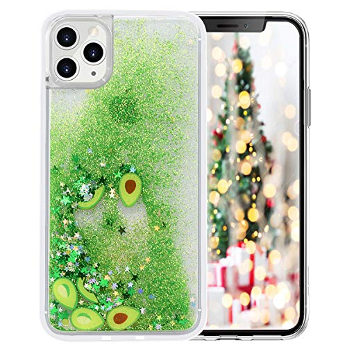 LUVI for iPhone 11 Liquid Glitter Case Quicksands Avocado Star Funny Bling Shiny Crystal Flowing Sparkle Moving Protective Cover Cute Fruit Clear Bumper Case for iPhone 11