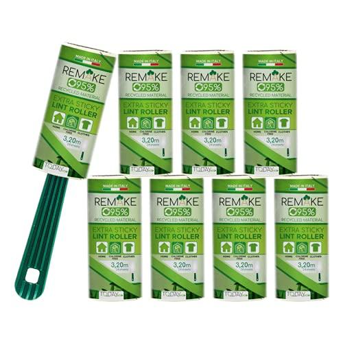 Quitapelusas (8 Rodillos +1 Mango) 95% Plástico Reciclado - Rodillo Quitapelos Mascotas - 24 Hojas Extra Adhesivas - Rollo Adecuado para Polvo, Ropa, Pelusas. Made in Italy by Today