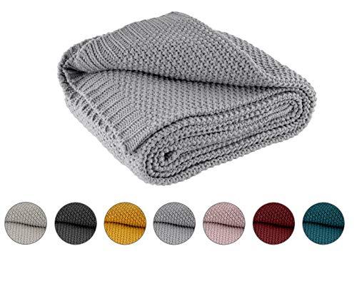 Kuscheldecke Strick 140x190 cm grau - Strickdecke OekoTex warme weiche Decke Herbst-Winter-Kollektion 20/21 Geschenk