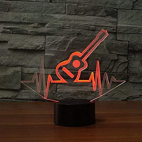 Lámpara de ilusión de luz nocturna 3D Lámpara de noche Modelo de guitarra Colorido S Dormitorio para niños Lámpara de mesa fresca para regalo de Navidad