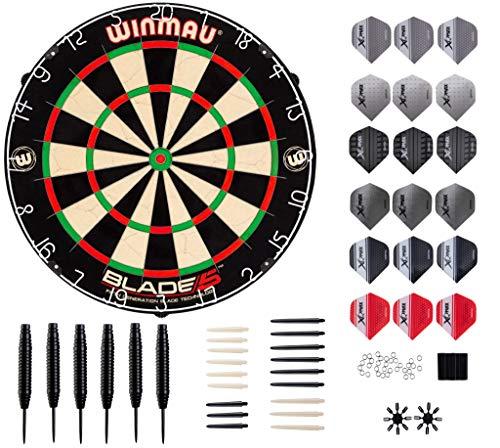 WINMAU Blade 5 Dart-Set Profi mit Turniermaß Blade 5 Scheibe und Dartshopper 6 Stück Steel Dartpfeile Set 23 Gramm, Dart Pfeile mit Metallspitze