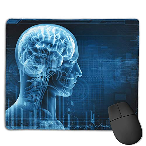 N\A Alfombrilla de ratón para Juegos portátil Cerebro Humano médico Base Antideslizante cómoda Bordes cosidos duraderos para computadora portátil