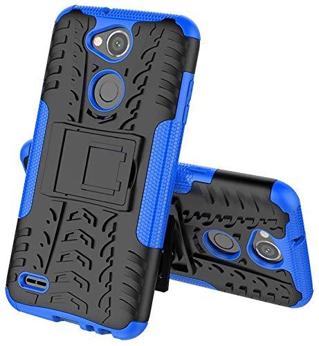 Sunrive Hülle Für LG X Power2, Tasche Schutzhülle Etui Hülle Cover Hybride Silikon Stoßfest Handyhülle Hüllen Zwei-Schichte Armor Design schlagfesten Ständer Slim Fall(blau)