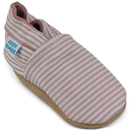 Zapatos Bebe Niña - Zapatillas Niña - Patucos Primeros Pasos - Rayas Rosadas 0-6 Meses