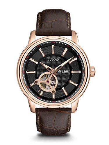 Bulova Automatic 97A109 - heren designer-automatisch horloge - armband van leer - wijzerplaat in zwart en roségoudkleuren