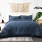 Bedsure Navy Duvet Cover King Size - Washed Cotton Like Soft King Duvet Cover Set 3 Pieces with Zipper Closure, 1 Duvet Cover 104x90 inches and 2 Pillow Shams