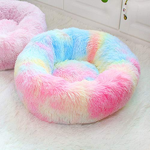 FFFPET Betten Für Katzen,Kleine Hund Katze Haustiere Gemütlichen Sofas Cute Kreative Bunte Donut Flauschigen Kissen- Und Versteck Höhle Schlaf Indoor 50 * 50 * 18 cm, Bunt