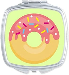 DIYthinker Pink Doughnut Dessert Sweet Food Square Compact Makeup Mirror Portable Cute Hand Pocket Mirrors Multicolor