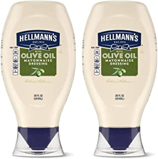 Hellmann's Premium Mayonnaise Dressing With Olive Oil Easy Squeeze Bottle - 2 Pk (20 oz ea)