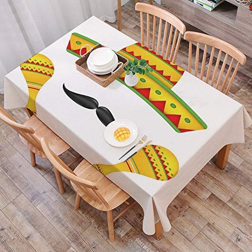 Mantel Antimanchas Rectangular Impermeable,Decoraciones mexicanas, famosos iconos de centro de mesa Sombrero bigote ,Manteles Mesa Decorativo para Hogar Comedor del Cocina,(140 x 200 cm/55*78 pulgada)