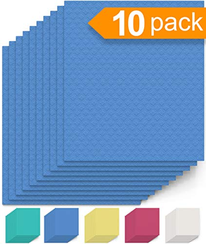 Swedish Dishcloth Cellulose Sponge Cloths - Bulk 10 Pack of Eco-Friendly No Odor Reusable Cleaning Cloths for Kitchen - Absorbent Dish Cloth Hand Towel (10 Dishcloths - Blue)