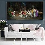 hetingyue Palacio Mago Arte Lienzo Mural decoración del hogar Lienzo y Mural Pintura sin Marco 60X120CM