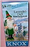 24 Stk. KNOX Räucherkerzchen Lavendel, für gute Stimmung und gegen lästige Insekten mit angenehmen Duft, Lavendel