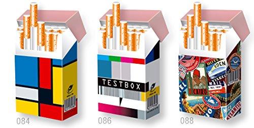 3er Set Karton Zigarettenschachtel ÜBERZIEHER Hülle/Motivset Wird GERNE ZUSAMMEN GEKAUFT/Motive: Mondrian, Testbox, Kofferaufkleber