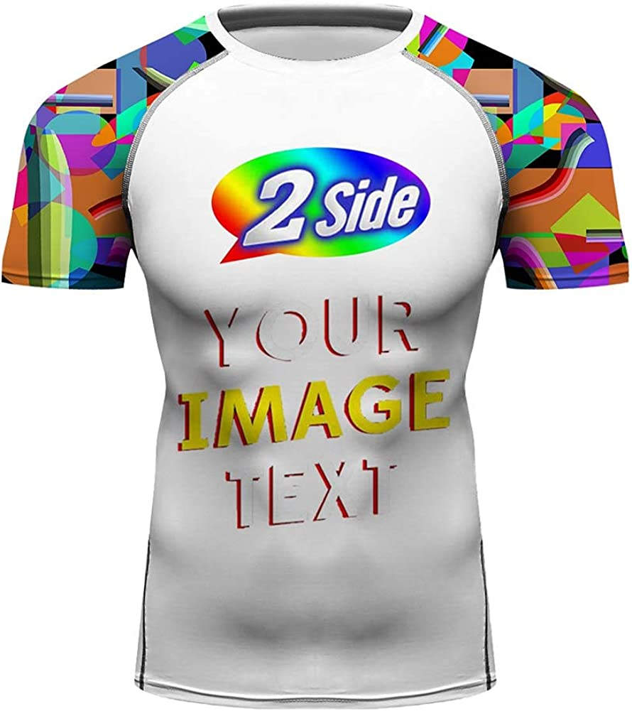 O2TEE Men's Custom Full Printing Add Your Picture Front & Back Short Sleeve Training Shirt