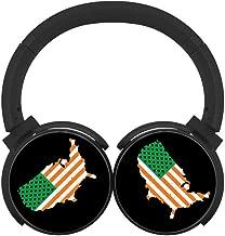 MagicQ Ireland Flag in USA Map Bluetooth Headphones,Hi-Fi Stereo Earphones Black