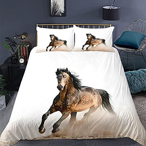 KIrSv Jun Horse Funda de Almohada con diseño de impresión en 3D, la Ropa de Cama de Animales Favorita para niños y niñas, Adecuada para una Cama Individual Doble tamaño king-16_175 * 210cm (3 Piezas)