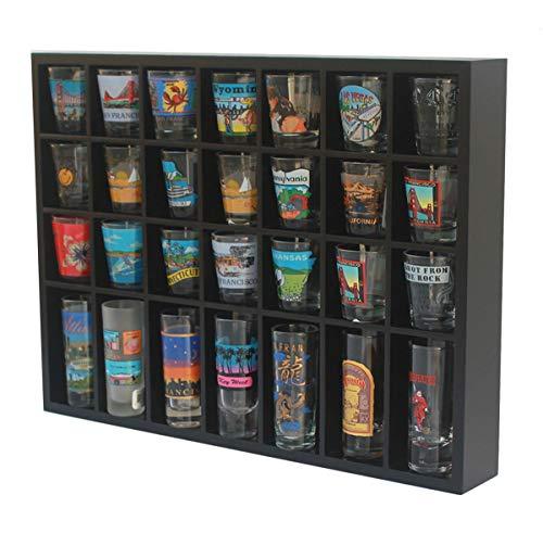 Shot Glass Display Case Holder for Wall, Small Hanging Cabinet Rack for 28 Shot Glasses, No Door, (Black)