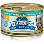 BLUE Wilderness Wild Delights Kitten Flaked Grain Free Chicken & Trout in Tasty Gravy Wet Cat Food 3-oz (pack of 24)