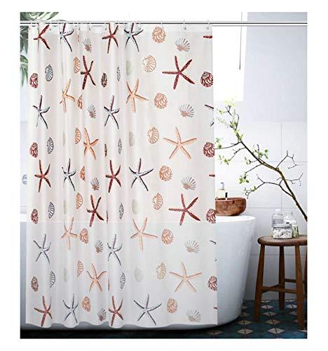 Daesar Bad Vorhang für Badezimmer Seestern und Muschel Muster Wasserdicht Duschvorhang aus Polyester-Stoff 240x200 cm