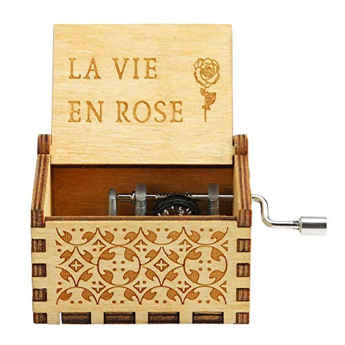 Demiawaking Carillon a Manovella in Legno Antico Scatola Musicale Music Box Decorazione Regalo per Compleanno Natale (La Vie en Rose)