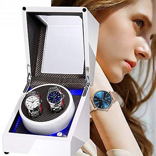 ZXZXZX Caja Enrolladora de Reloj Automática, Giratoria Relojes de Pulsera Watch Winder Superficie Pintura de Piano Mecánico Winder Silenciosa por Batería o Adaptador de AC (Sin Reloj)