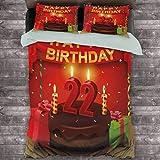 Toopeek 22 cumpleaños paquete de 3 (1 funda de edredón y 2 fundas de almohada) delicioso pastel con velas alegre evento delicioso de poliéster (completo) rojo castaño marrón