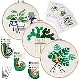 Kit de inicio de bordado, paquete de 3 kits de punto de cruz con patrón de planta que incluyen aros de bordado de bambú, hilos de colores y herramientas, gama completa de kits de bordado para adultos