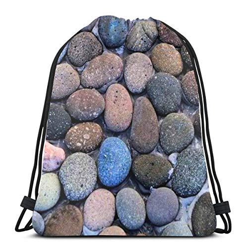 asdew987 Mochila de cordón con piedras coloridas para mujer, ligera, mochila de almacenamiento