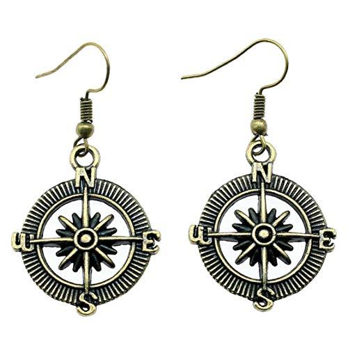Zonfer Legierung Kompass Ohrringe Retro Bronze Silber-Haken-Tropfen-hängende Ohrringe Steampunk Ohrstecker 1 Paar