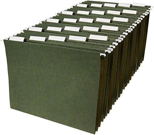 Amazon Basics Hanging Organizer File Folders - Letter Size, Green - Pack of 25