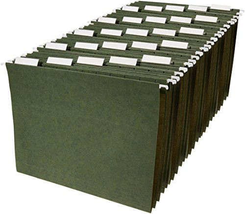 AmazonBasics Hanging Organizer File Folders - Letter Size, Green - Pack of 25