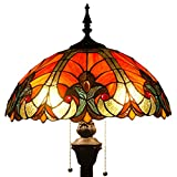 Tiffany Style Floor Standing Lamp W16H64 Inch Tall Red Liaison Stained Glass Shade 2E26 Antique Read Lighting Base S160R WERFACTORY Lamps Bedroom Living Room Coffee Table Bookcase Dresser Lover Gifts