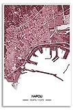 Zulumaps Poster Napoli Stadtplan - Hochwertiger Kunstdruck 20x30cm, Farbe: Rot