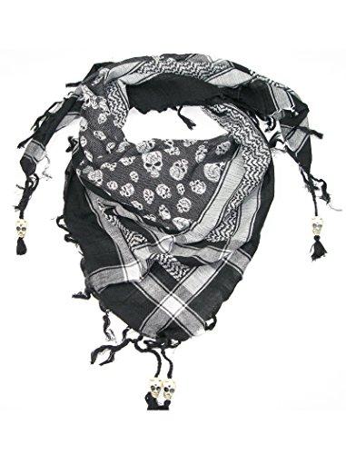 LOVARZI Stylisches Schädel Halstuch - Weiß Schwarz Damen und Herren Schal - Totenkopf quadratische Baumwoll-Halstuch für Männer & Frauen jeden Alters
